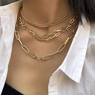 YERTTER Dainty Unique Punk Layering Chain Choker Necklace Boho Jewelry Set Layered Statement Chunky Chain Necklace for Wom...