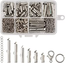 Pandahall 120pcs/1Box 6Sizes Iron Slide On End Clasp Tubes Slider with Extender Chains 304 Stainless Steel Jump Rings & Alloy Lobster Claw Clasps 10mm/13mm/16mm/20mm/25mm/30mm for Jewelry Making