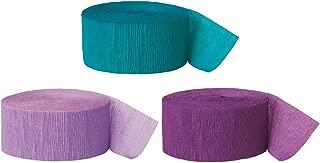 Andaz Press Crepe Paper Streamer Hanging Party Decorations Kit, 240-Feet, Aqua Teal, Lavender, Royal Purple, 1-Pack, 3-Rolls, Mermaid Colored Wedding Baby Bridal Shower Birthday Supplies, Mermaid