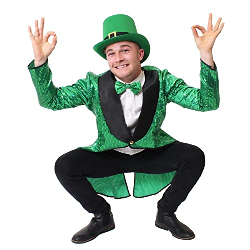 ADULTS LEPRECHAUN FANCY DRESS COSTUME - ST PATRICKS DAY FANCY DRESS - GREEN SEQUIN TAILCOAT, GREEN TOP HAT AND GREEN BOW TIE (LARGE)