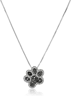 Sterling Silver Black and White Diamond Dog Paw Pendant Necklace (1/10 cttw), 18