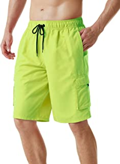 TSLA Men's 11 Inches Swim Trunks, Quick Dry Beach Board Shorts, Bathing Suits with Inner Mesh Lining and Pockets