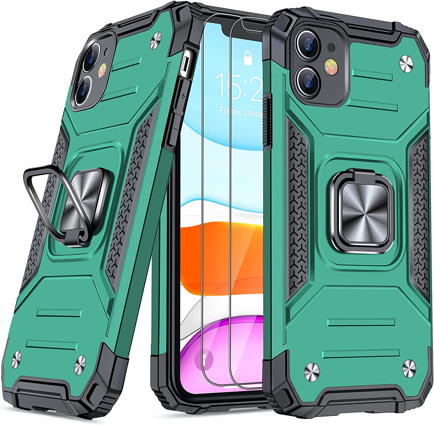 JAME Designed for iPhone 11 Case with Screen Protector 2PCS, Military-Grade Drop Protection, Protective Phone Cases, with Ring Kickstand Shockproof Bumper Case for iPhone 11 6.1 Inch Green