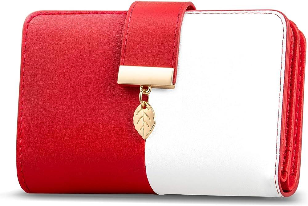 Faneam portafogli porta carte di credito in vera pelle con protezione rfid BIANCOROSSO