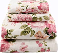 jaycorner 1800 Series Beautiful Bedding Super Soft Egyptian Comfort Sheet Set Floral Pink & Olive (Queen Size)