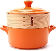 TAGININE Ceramic Casserole Stockpot Stew pot with round lid and steamer is compatible with various heat sources, with the ...