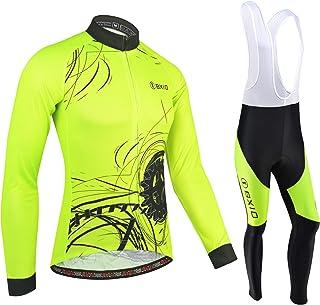 BXIO Invierno Polar de Lana Jersey de Ciclismo, Ropa de otoño de la Bicicleta Fluo Amarillo Cremallera Completa Ropa de Ciclismo MTB Road Bike Wear 183