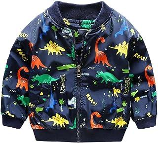 Sunbona Toddler Baby Boys Dinosaur Jacket Outwear Spring Autumn Thick Warm Zipper Coat Clothes