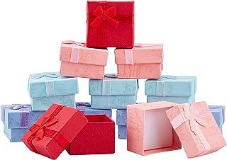 nbeads ギフトボックス 32個セット 4.1x4.1x2.6cm 4色 アクセサリー ラッピング ラッピングボックス リボン付き 箱 パッケージ プレゼント 正方形 包装 贈り物 混合色