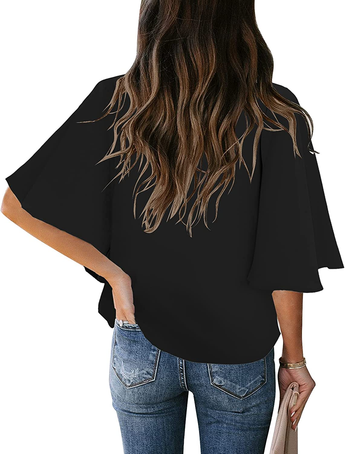 luvamia Women Button Up Down Blouse Tie Knot Front Tops Long Ruffel Sleeve V Neck Shirt Going Out Dressy Casual Work