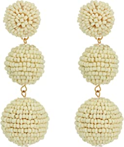 Kenneth Jay Lane - 2 Ivory Seed Bead Wrapped Ball Post Earrings w/ Dome Top