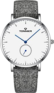 Tonnier Ultra-Thin Men Watch Gray Woollen and Cowhide Leather Strap with Independent Second Hand Dial Mans Quartz Watches