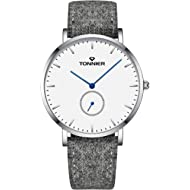 Ultra-Thin Men Watch Gray Woollen and Cowhide Leather Strap with Independent Second Hand Dial...