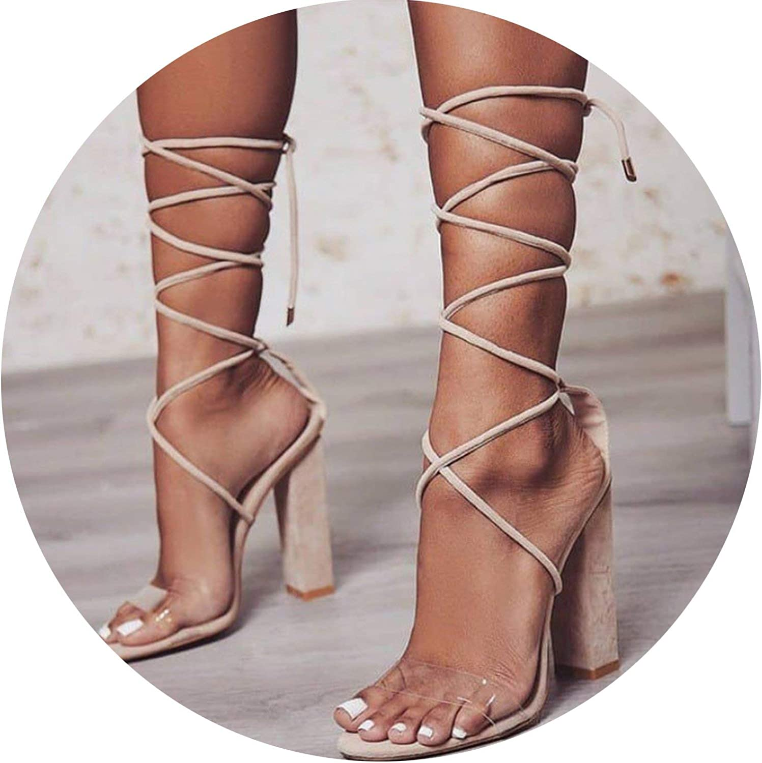 HANBINGPO XEK Women Pumps 2018 High Heels Sandals PVC Transparent Women Heels Wedding shoes Women Casual Waterproof Sandalia Feminina WFQ88
