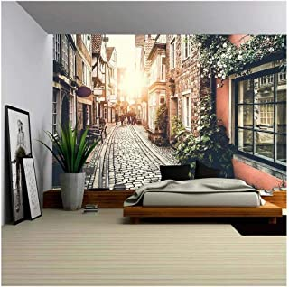 wall26 - Old Town in Europe at Sunset with Retro Vintage Filter Effect - Removable Wall Mural   Self-Adhesive Large Wallpaper - 66x96 inches