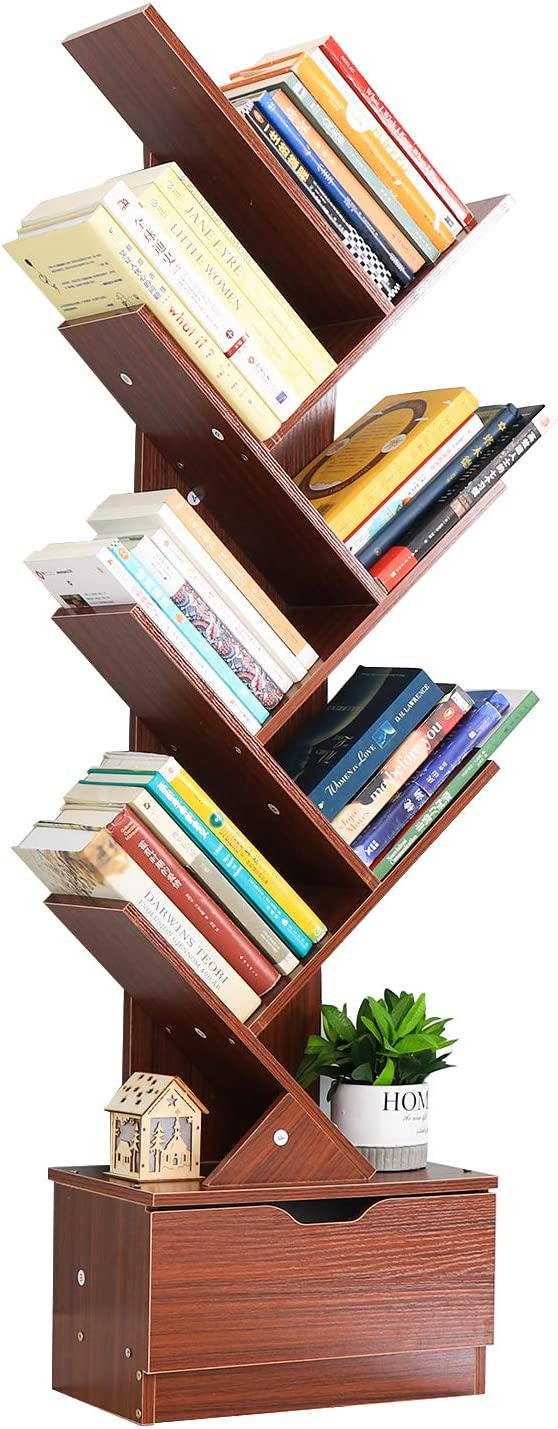 Genenic Tree Bookshelf with Drawers,8-Tier Floor Standing Bookcase,with Wooden Storage Rack Display Shelves Cabinet in Living Room/Home/Office for Books/CDs/Movies/Files (Teak Pattern, 8 Tier)