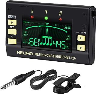 NEUMA クリップ式チューナー/メトロノーム LCDディスプレイ認識 ギター/ベース/ウクレレ用 チューナー用コンタクトマイク付き