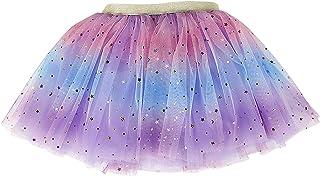 Baby Girls Rainbow Sparkle Tutu Skirt Pentagram Sequin Christmas 3 Layered Elastic Puffy Tulle Skirt