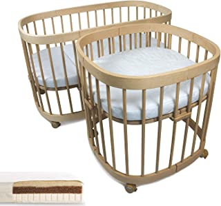 tweeto Babybett Kinderbett 10-in-1 KOMPLETT-SET - 10 Funktionen inkl. 3-tlg. KOKOS-LATEX Matratze Buche Natur