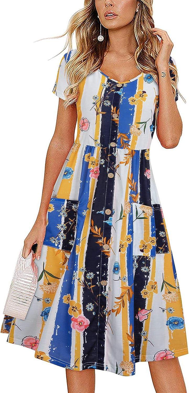 VOTEPRETTY Women's Short Sleeve V Neck Sundress Summer Casual Button Floral Dress with Pockets