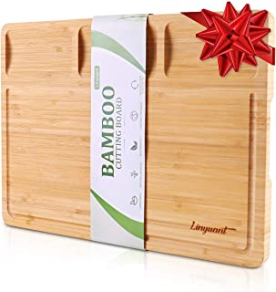 Organic Bamboo Cutting Board For Kitchen, with 3 Built-In Compartments and Juice Grooves, Wood Chopping Board For Meats Br...