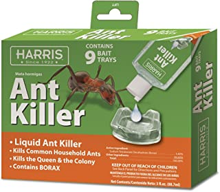 HARRIS Ant Killer, 3oz Liquid Borax Value Pack Includes 9 Bait Trays for Indoor Use, Ant Trap Alternative