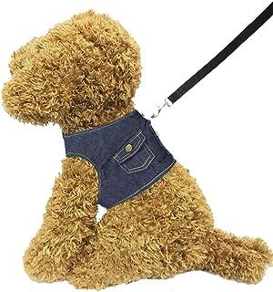 Hamour Pets Adjustable Vest Harness Leash Set Denim Cowboy Coat for Small Medium Large Dogs Cats Walking Running