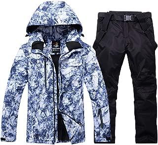 YUMUYMEY Uomini Tute da Sci Tuta Warm Traspirante Giacca Impermeabile Antivento Sci e Pantaloni