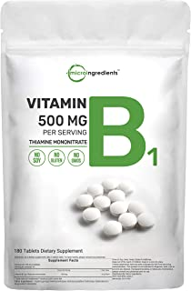 Micro Ingredients Vitamin B1 Thiamine Supplements, 500mg Per Serving, 180 Tablets, Promote Energy Production and Nervous S...