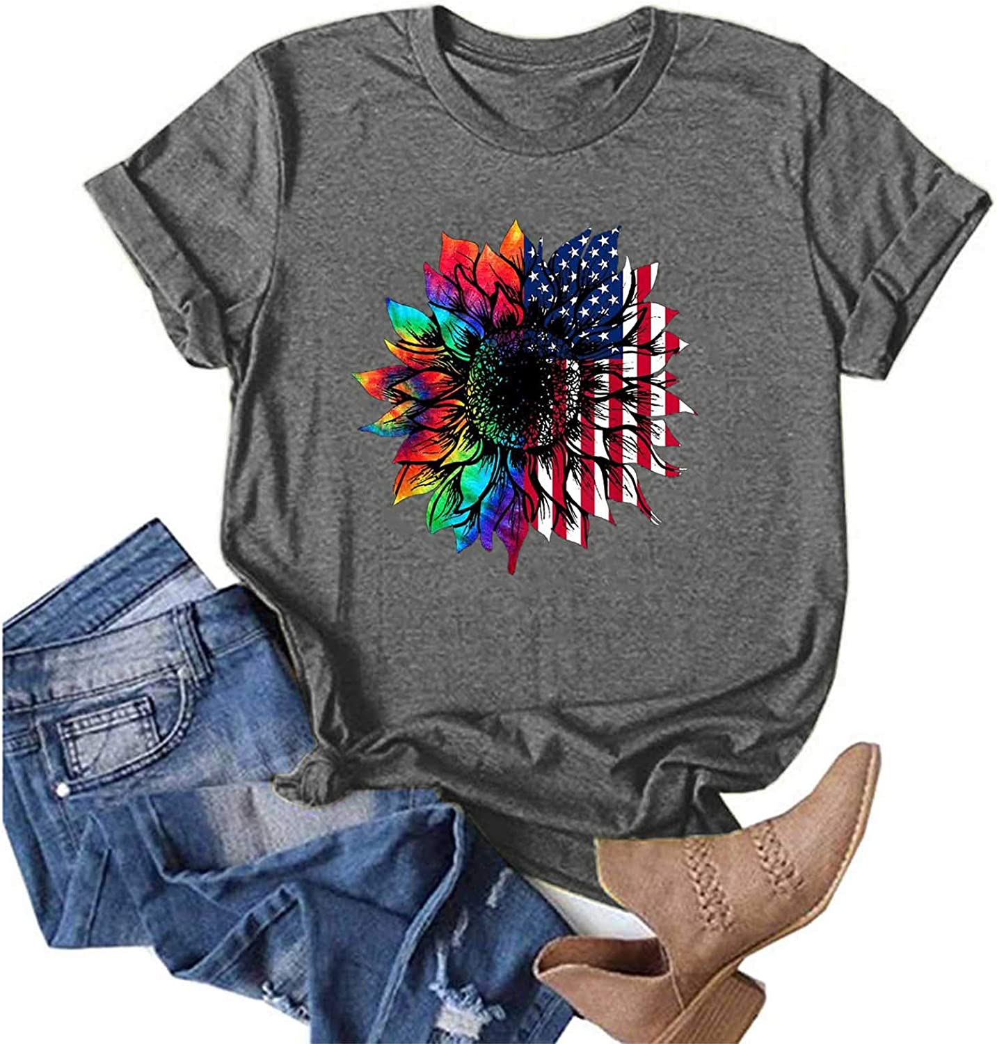 Womens Summer Tops, Womens Casual Blouse Short Sleeve Shirts Loose Fit Tshirt Plus Size Tops Sunflower Painting Tees
