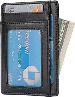 YOOMALL Genuine Leather Slim RFID Wallet Minimalist Front Pocket Wallet Thin Credit Card Holder Card Case