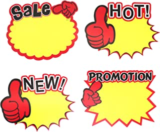 Omitfu 7 Inch x 5.5 Inch Starburst Sign Cards Price Burst Signs Retail Display Sales Tags Blank 40 Pcs Cards