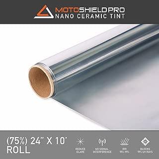 Motoshield Pro Ceramic Tint Film [Blocks Up to 99% of UV/IRR Rays] 24 Inches x 10 Feet - Window Tint Film Roll (75%)