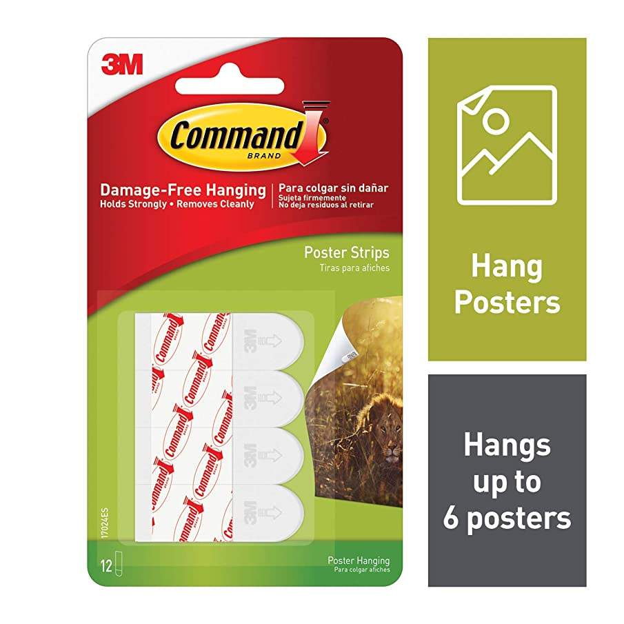 Command Poster Hanging Strips, Small, White, 12-Strip, 6-Pack (72 Strips Total) - 17024