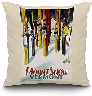Mount Snow, Vermont - Colorful Skis (20x20 Spun Polyester Pillow, White Border)