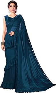 Glory Sarees Women's Lycra Saree With Blouse Piece