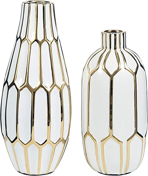 Ashley 家具签名设计 Mohsen 花瓶套装金色抛光