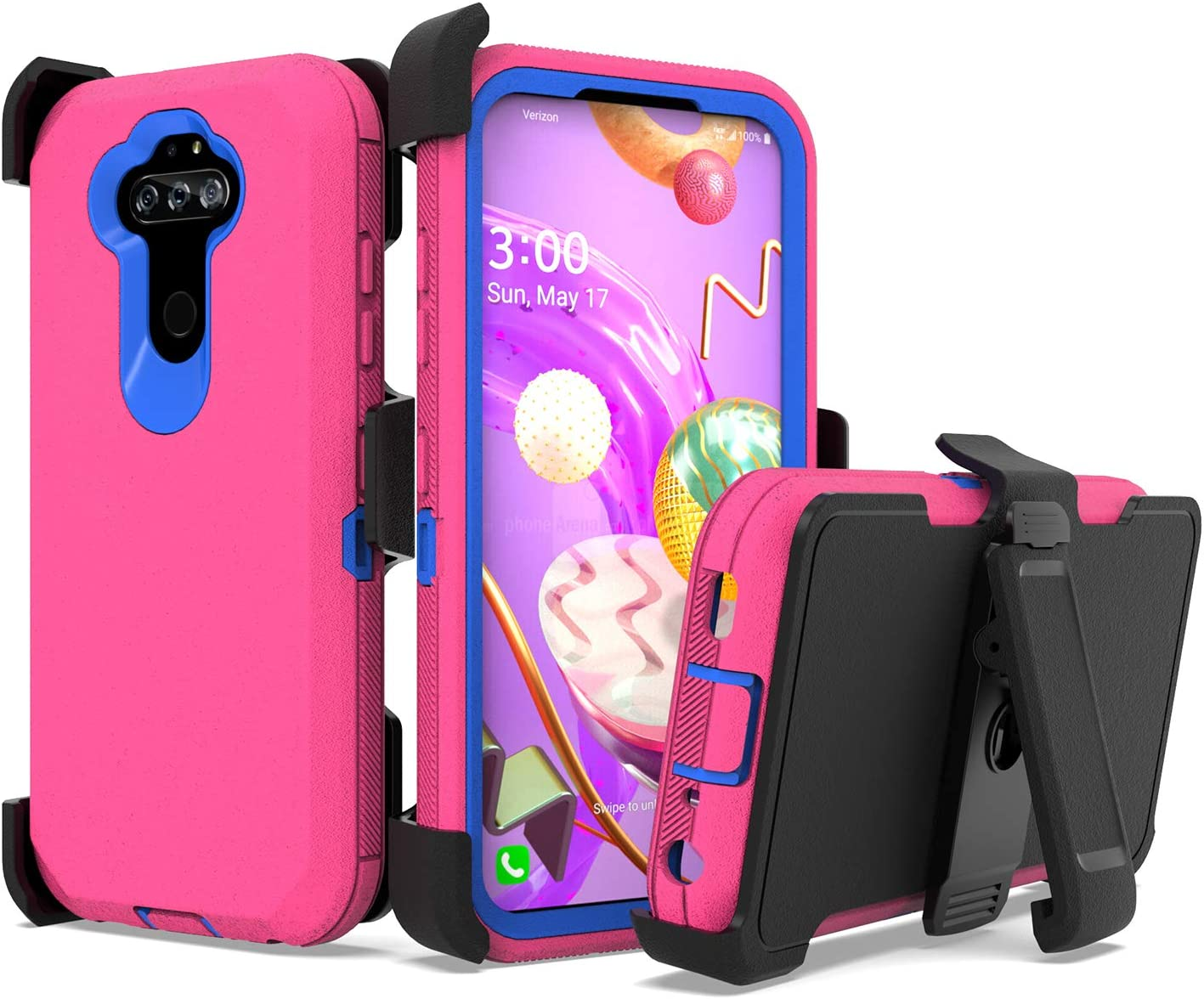 UNC Pro Belt Clip Holster Cell Phone Case for LG Aristo 5/Aristo 5 Plus +/K31/Phoenix 5/Fortune 3/Tribute Monarch/K8x/Risio 4, Heavy Duty Hybrid Shockproof Bumper Case w/Kickstand, Hot Pink/Blue