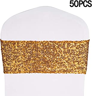Desirable Life Stretch Sequin Chair Sashes Chair Bands for Hotel Wedding Reception Party Event Chair Cover Decoration 4