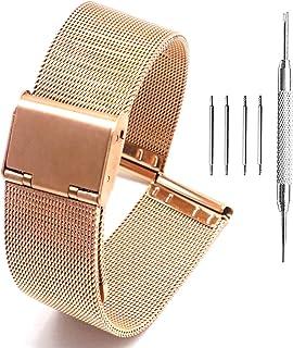 Adallor® 10 12 14 16 18 20 22 24mm Cinturini Orologio Leggeri Maglia in Acciaio Inossidabile con un Comodo Meccanismo di D...