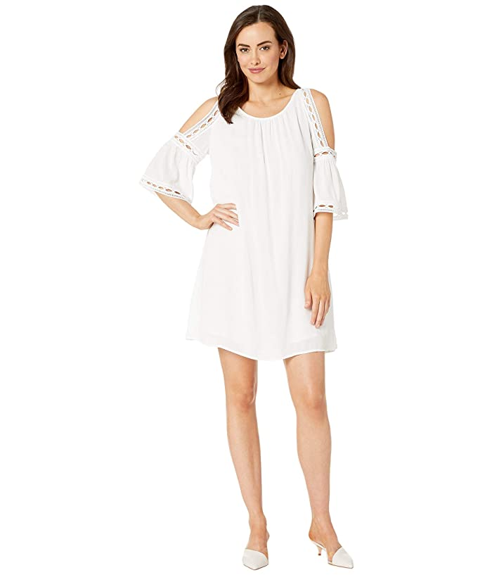 Wrangler White Cold-Shoulder Dress with Lining
