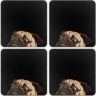 CARIBOU Coasters, Dazed Pug Puppy Dog Design Absorbent SQUARE Fabric Felt Neoprene Coasters for Drinks, 4pcs Set