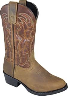 Smoky Mountain Childrens Tonto Distressed Leather Shaft Round Toe Brown/Brown Western Cowboy Boot