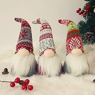 Juegoal Christmas Plush Gnome Santa Handmade Scandinavian Swedish Tomte, Elf Toy Holiday Present, Winter Table Christmas Decorations, Set of 3