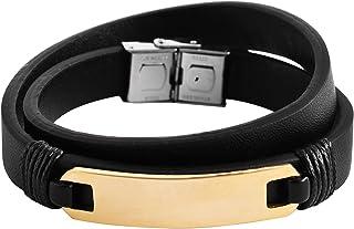 Brillibrum ID Wickelarmband äkta läder rostfritt stål gravyrplatta silver guld läderarmband svart partner-smycke vänskapsa...