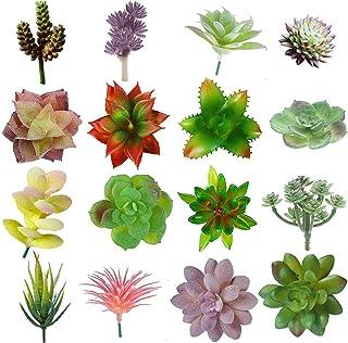 16 Pcs Mini Artificial Succulent Flocking Plants Unpotted Faux Succulent Picks Fake Plants for Decoration