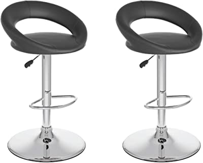 CorLiving Round Open Back Adjustable Barstool in Black Leatherette, Set of 2