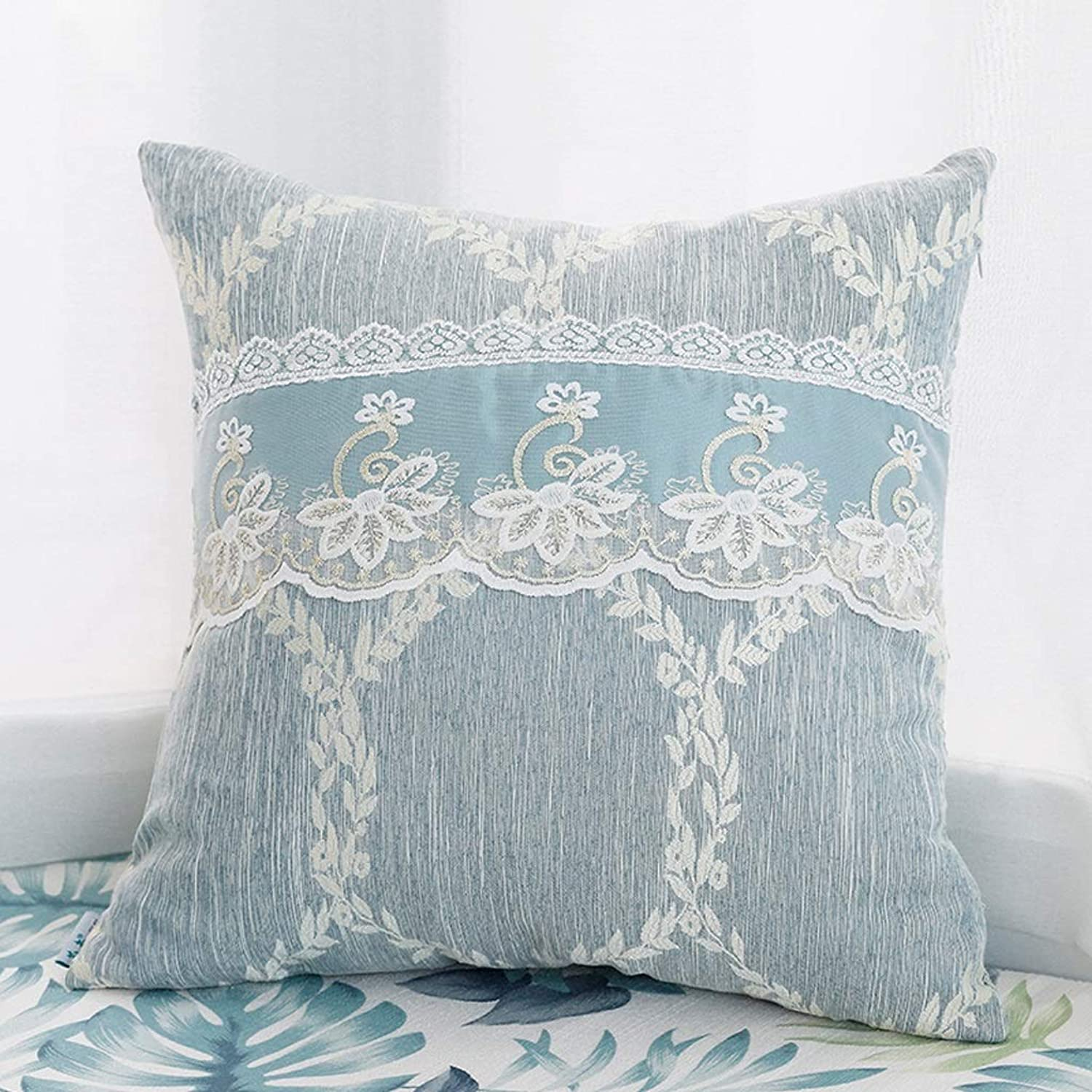 QYSZYG Pillow Living Room Sofa Pillow Embroidered Pillow Pillow Lace Pillowcase with Core Bed Cushions Removable and Washable Household Pillow (color   A)