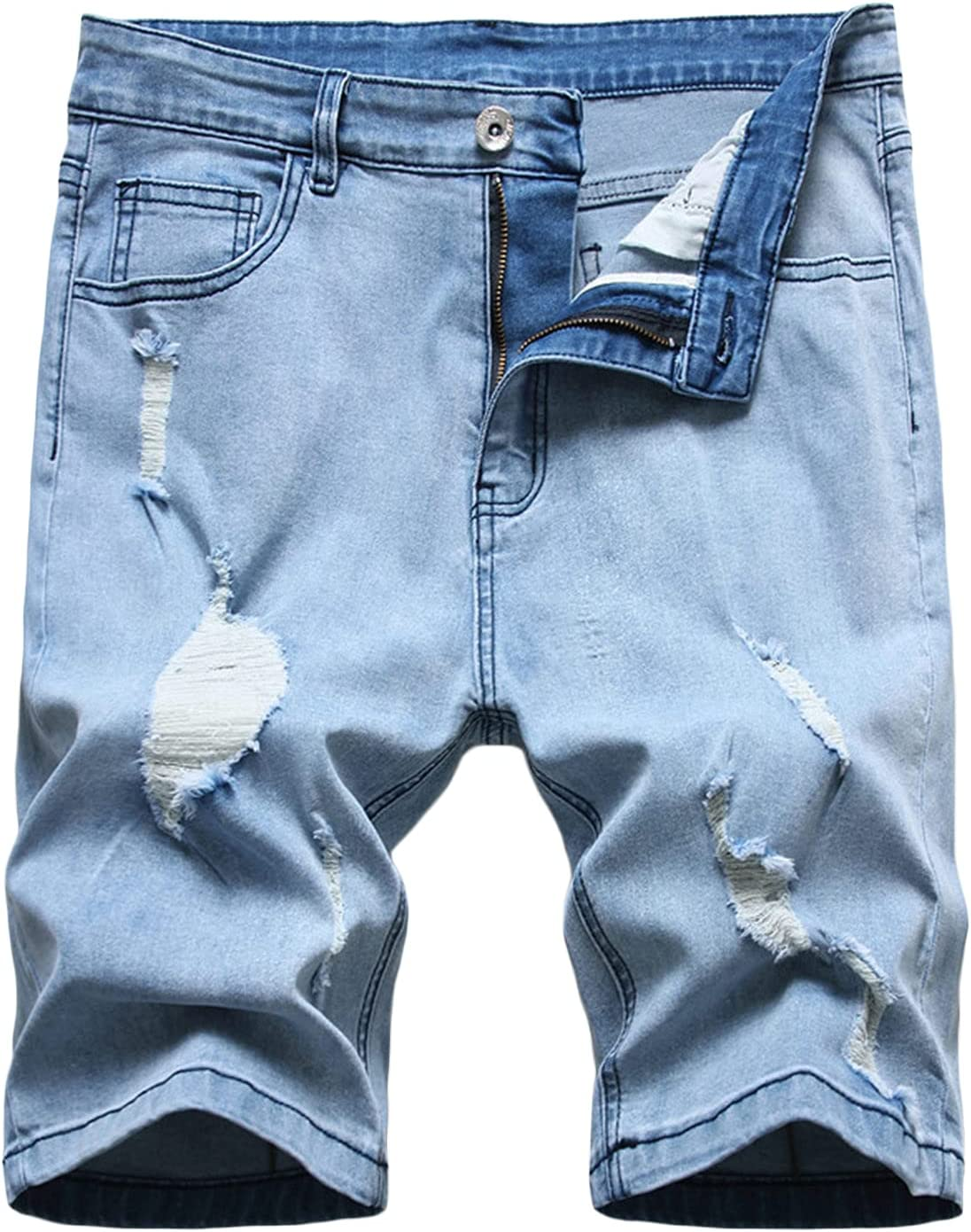 Men's Straight Denim Shorts Ripped Slim Jean Fit Short Ho Las Sales results No. 1 Vegas Mall Washed