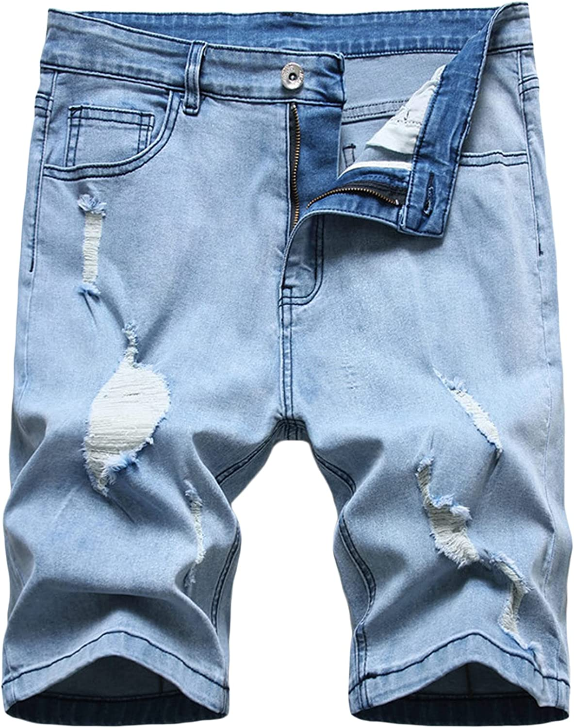 Men's Stretch Ripped Jean Shorts Broken Distressed Washed Denim Shorts Slim Fit Knee Length Jean Short Pants With Holes